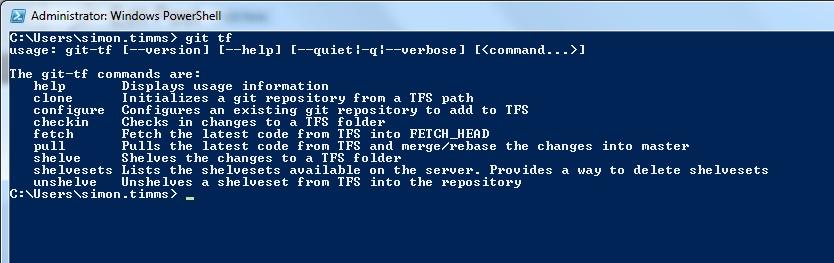 Git-TF subcommands